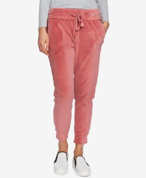 Raw Hem Velour Jogger Pants in Forest Berry