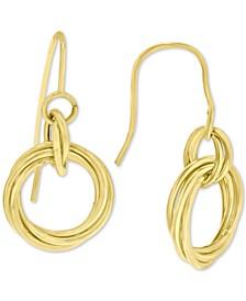 Diamond Knot Drop Earrings in 14k Gold