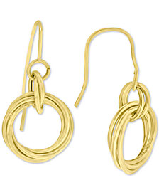 Diamond Knot Drop Earrings in 14k Gold