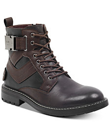 GUESS Men's Rebel Water-Resistant Lace-Up Boots