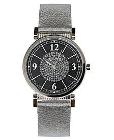 Lucky Brand Women's Carmel Silver Metallic Leather Strap Watch 34mm