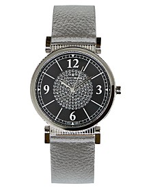 Lucky Brand Women's Carmel Silver Metallic Leather Strap Watch 34mm