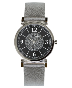 UPC 191671927335 product image for Lucky Brand Women's Carmel Silver Metallic Leather Strap Watch 34mm | upcitemdb.com