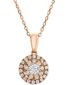 Diamond Halo Adjustable Pendant Necklace (1/2 ct. t.w.) in 14k Rose Gold