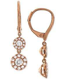 Diamond Halo Drop Earrings (3/4 ct. t.w.) in 14k White Gold