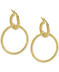 Double Hoop Drop Earrings in 14k Gold