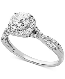 Swarovski Zirconia Halo Ring in Sterling Silver
