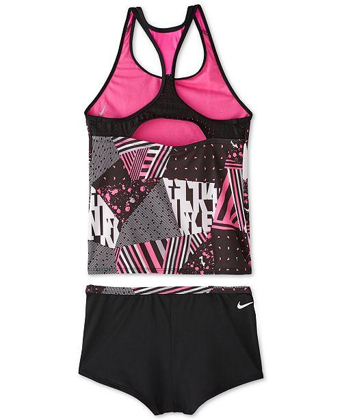 5022cebf5818 Nike Big Girls Mash Up Racerback Tankini & Kickshort Swimsuit ...