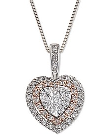 Diamond Halo Heart Adjustable Pendant Necklace (1/4 ct. t.w.) in 14k White & Rose Gold