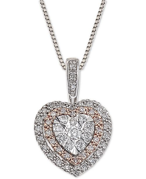 Macy's Diamond Halo Heart Adjustable Pendant Necklace (1/4 ct. t.w.) in 14k White & Rose Gold