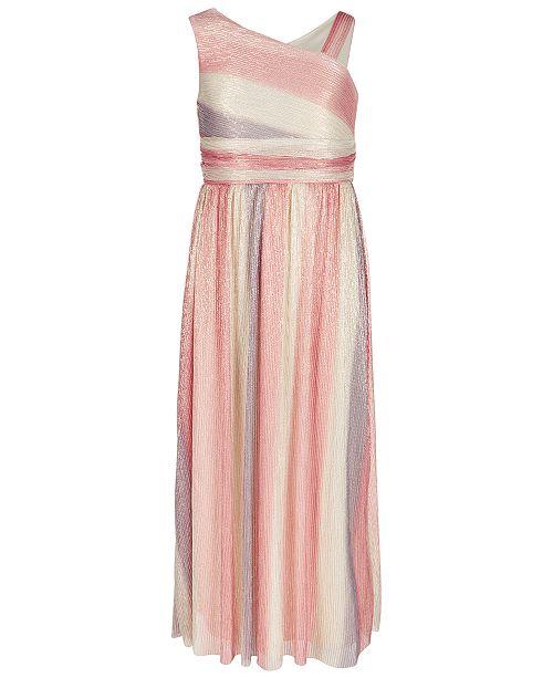 27c7cad526403 Sequin Hearts Big Girls One-Shoulder Rainbow Maxi Dress ...