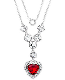 "Giani Bernini Cubic Zirconia & Red Heart 18"" Pendant Necklace in Sterling Silver, Created for Macy's"