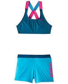 Nike Big Girls 2-Pc. Rift Prism Crossback Sport Bikini & Short Set