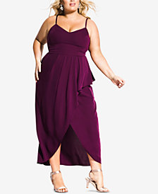 City Chic Trendy Plus Size Pleated Faux-Wrap Maxi Dress
