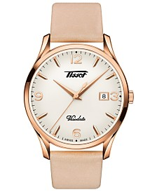 Tissot Unisex Swiss Heritage Visodate Beige Leather Strap Watch 40mm