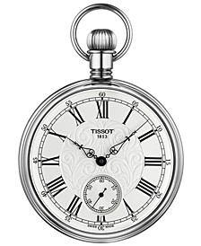 Unisex Mechanical Lepine Palladium Plated Brass Pocket Watch 51mm