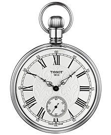 Tissot Unisex Mechanical Lepine Palladium Plated Brass Pocket Watch 51mm