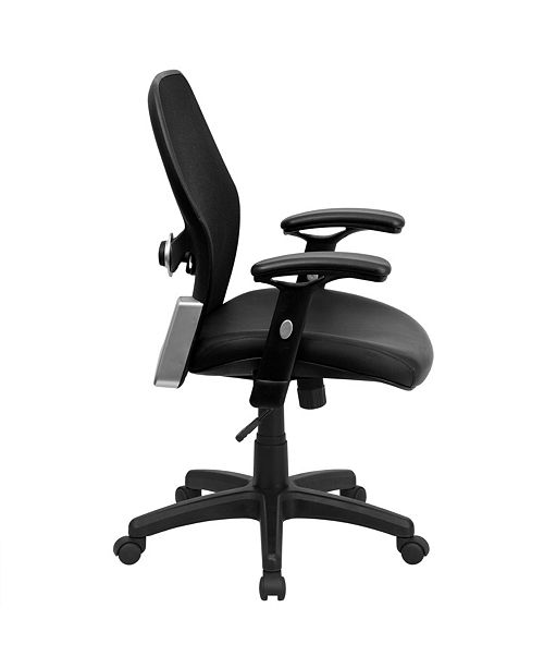 Flash Furniture Mid-Back Black Super Mesh Executive Swivel Chair With Leather Seat And Adjustable Arms, Black Bonded Leather