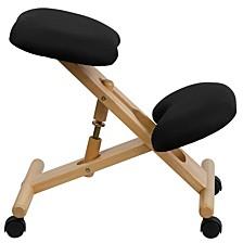 Mobile Wooden Ergonomic Kneeling Chair In Black Fabric