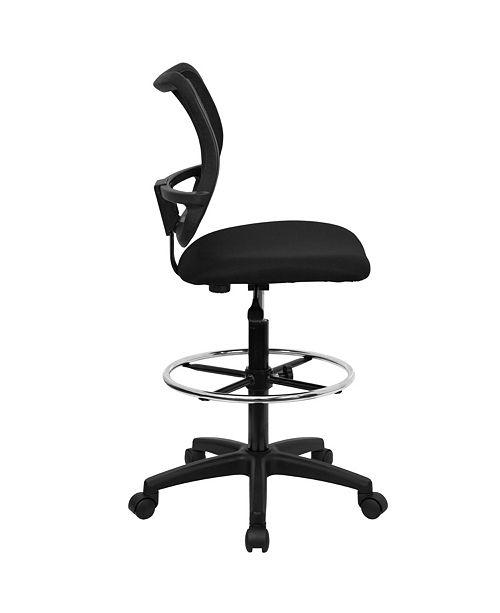 Flash Furniture Mid-Back Black Mesh Drafting Chair