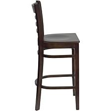 Hercules Series Ladder Back Walnut Wood Restaurant Barstool