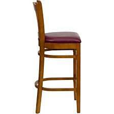 Hercules Series Vertical Slat Back Cherry Wood Restaurant Barstool - Burgundy Vinyl Seat