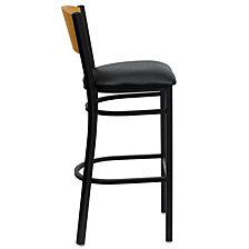 Hercules Series Black Circle Back Metal Restaurant Barstool - Natural Wood Back, Black Vinyl Seat