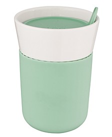 Leo Collection Porcelain 11.16-Oz. Travel Mug with Green Sleeve