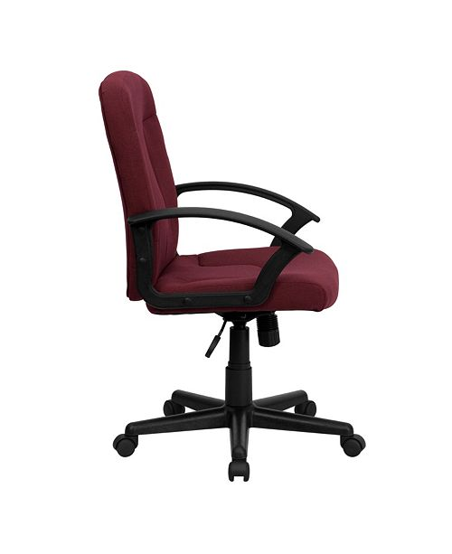Flash Furniture Mid-Back Burgundy Fabric Executive Swivel Chair With Nylon Arms