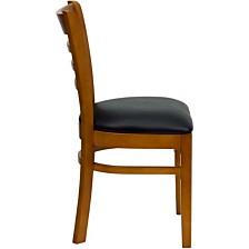 Hercules Series Ladder Back Cherry Wood Restaurant Chair - Black Vinyl Seat