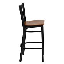 Hercules Series Black Vertical Back Metal Restaurant Barstool - Cherry Wood Seat
