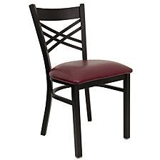 Hercules Series Black ''X'' Restaurant Chair