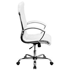 High Back Designer White Leather Executive Swivel Chair With Chrome Base And Arms