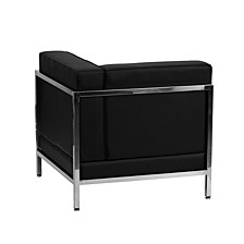 Hercules Imagination Series Contemporary Black Leather Right Corner Chair With Encasing Frame