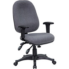 Mid-Back Gray Fabric Multifunction Executive Swivel Chair With Adjustable Arms