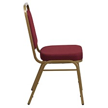 Hercules Series Trapezoidal Back Stacking Banquet Chair In Burgundy Patterned Fabric - Gold Frame