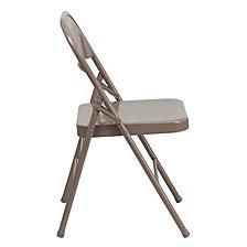 Hercules Series Triple Braced & Double-Hinged Beige Metal Folding Chair