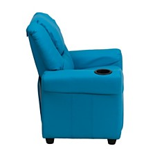 Contemporary Turquoise Vinyl Kids Recliner With Cup Holder And Headrest
