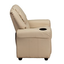 Contemporary Beige Vinyl Kids Recliner With Cup Holder And Headrest