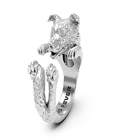 Border Collie Hug Ring in Sterling Silver