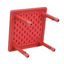 24'' Square Red Plastic Height Adjustable Activity Table