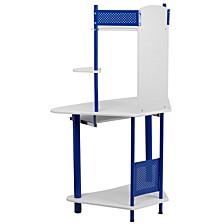Blue Corner Computer Desk With Hutch