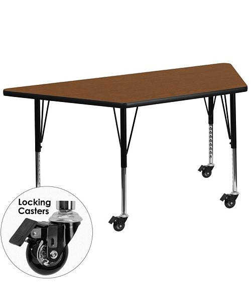 Flash Furniture Mobile 25''W X 45''L Trapezoid Oak Hp Laminate Activity Table - Height Adjustable Short Legs