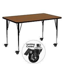 Mobile 24''W X 60''L Rectangular Oak Hp Laminate Activity Table - Standard Height Adjustable Legs