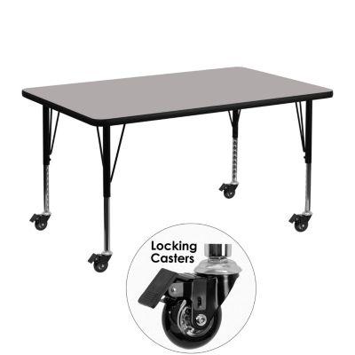Height Adjustable Short Legs Flash Furniture 30W x 48L Rectangular Grey HP Laminate Activity Table