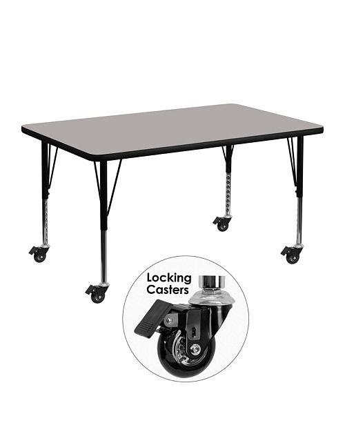 Flash Furniture Mobile 30''W X 48''L Rectangular Grey Hp Laminate Activity Table - Height Adjustable Short Legs