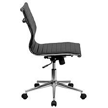 Mid-Back Armless Black Ribbed Leather Swivel Conference Chair