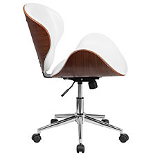 Mid-Back Walnut Wood Swivel Conference Chair In White Leather