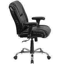 Hercules Series Big & Tall 400 Lb. Rated Black Leather Swivel Task Chair With Adjustable Arms