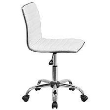 Low Back Designer Armless White Ribbed Swivel Task Chair